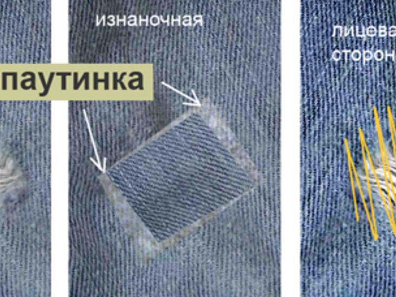 Зашить починить дырка протерлась на джинсах